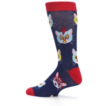 Image of Navy Red Gato Libre Cats Men's Dress Socks (side-2-13)