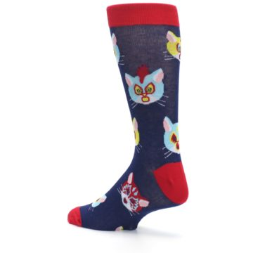 Image of Navy Red Gato Libre Cats Men's Dress Socks (side-2-back-14)
