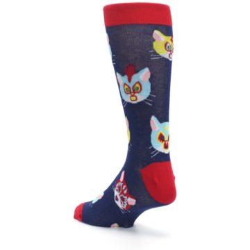 Image of Navy Red Gato Libre Cats Men's Dress Socks (side-2-back-15)