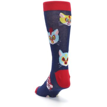 Image of Navy Red Gato Libre Cats Men's Dress Socks (side-2-back-16)