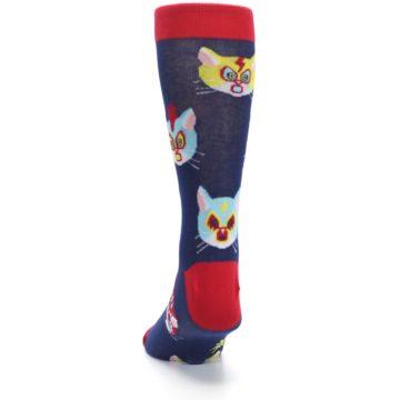 Image of Navy Red Gato Libre Cats Men's Dress Socks (back-17)
