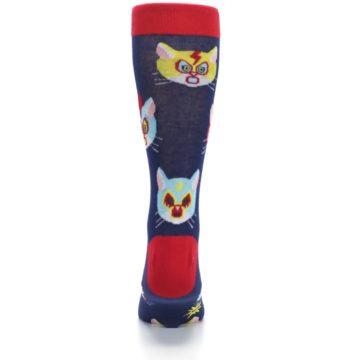 Image of Navy Red Gato Libre Cats Men's Dress Socks (back-18)