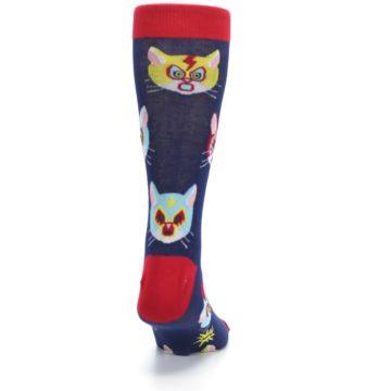 Image of Navy Red Gato Libre Cats Men's Dress Socks (back-19)