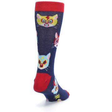 Image of Navy Red Gato Libre Cats Men's Dress Socks (side-1-back-20)