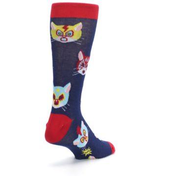 Image of Navy Red Gato Libre Cats Men's Dress Socks (side-1-back-21)