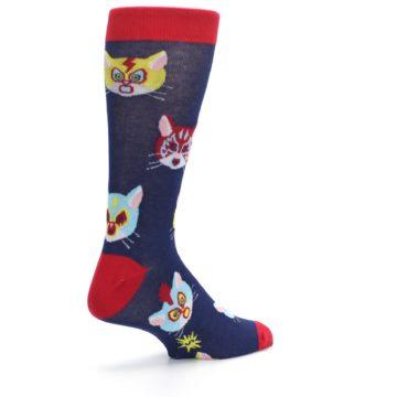 Image of Navy Red Gato Libre Cats Men's Dress Socks (side-1-back-22)