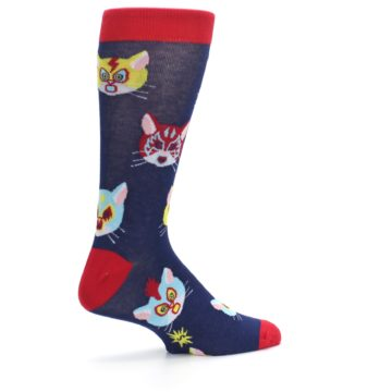 Image of Navy Red Gato Libre Cats Men's Dress Socks (side-1-23)