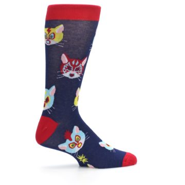 Image of Navy Red Gato Libre Cats Men's Dress Socks (side-1-24)