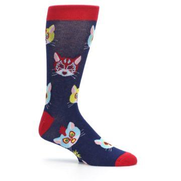 Image of Navy Red Gato Libre Cats Men's Dress Socks (side-1-25)