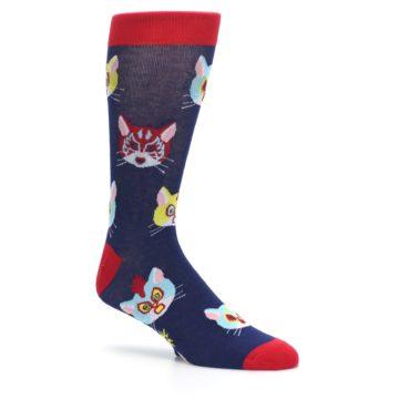 Image of Navy Red Gato Libre Cats Men's Dress Socks (side-1-26)