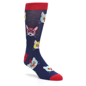 Image of Navy Red Gato Libre Cats Men's Dress Socks (side-1-27)