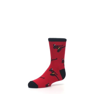 Image of Red Black Ninja Kid's Dress Socks (side-2-09)