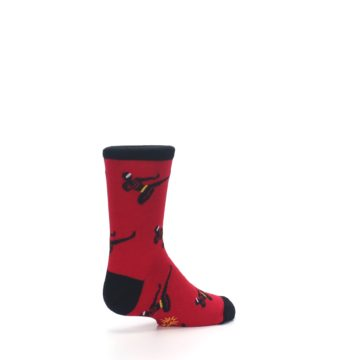 Image of Red Black Ninja Kid's Dress Socks (side-1-back-22)