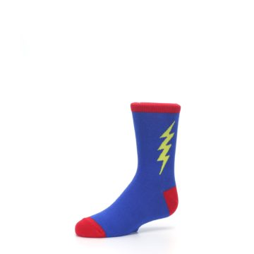 Image of Blue Yellow Super Hero Bolt Kid's Dress Socks (side-2-09)