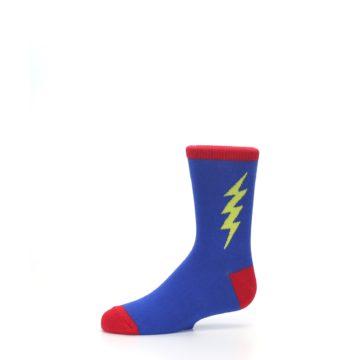 Image of Blue Yellow Super Hero Bolt Kid's Dress Socks (side-2-10)