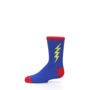 Image of Blue Yellow Super Hero Bolt Kid's Dress Socks (side-2-11)
