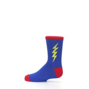 Image of Blue Yellow Super Hero Bolt Kid's Dress Socks (side-2-12)