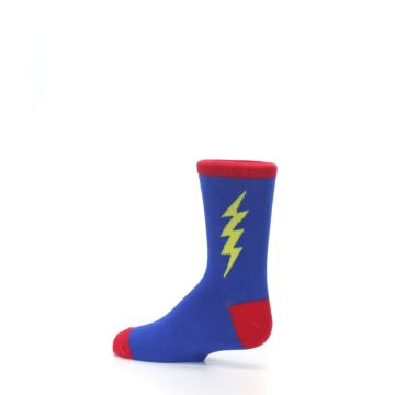 Image of Blue Yellow Super Hero Bolt Kid's Dress Socks (side-2-13)
