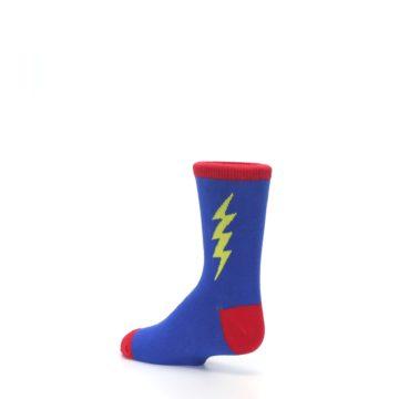 Image of Blue Yellow Super Hero Bolt Kid's Dress Socks (side-2-back-14)