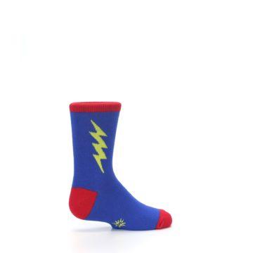 Image of Blue Yellow Super Hero Bolt Kid's Dress Socks (side-1-23)