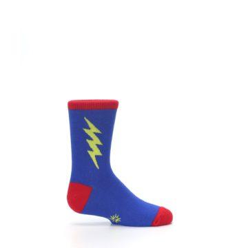Image of Blue Yellow Super Hero Bolt Kid's Dress Socks (side-1-24)