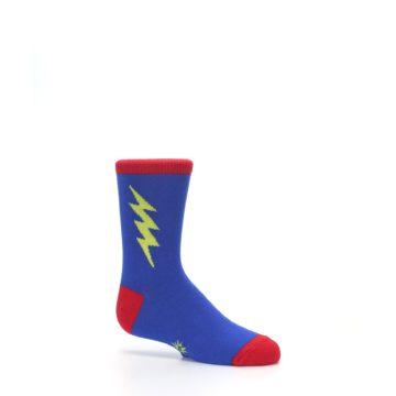 Image of Blue Yellow Super Hero Bolt Kid's Dress Socks (side-1-25)