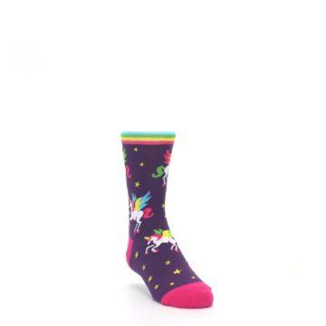 Image of Purple Multi Unicorns Kid's Dress Socks (side-1-front-02)
