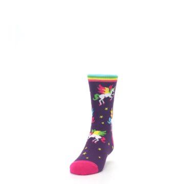 Image of Purple Multi Unicorns Kid's Dress Socks (side-2-front-06)