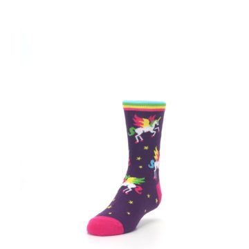 Image of Purple Multi Unicorns Kid's Dress Socks (side-2-front-07)