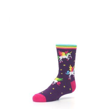 Image of Purple Multi Unicorns Kid's Dress Socks (side-2-09)