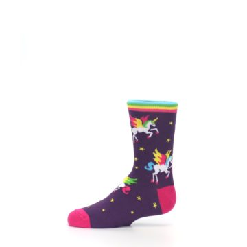 Image of Purple Multi Unicorns Kid's Dress Socks (side-2-11)