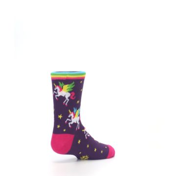 Image of Purple Multi Unicorns Kid's Dress Socks (side-1-back-22)