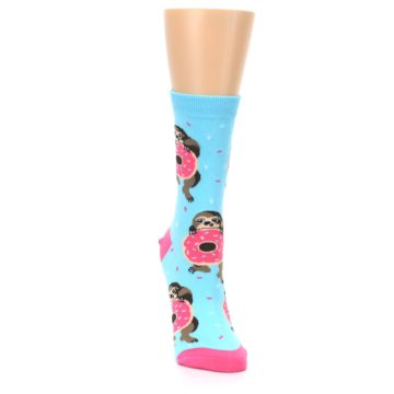 Image of Blue Pink Snacking Sloth Women's Dress Sock (side-1-front-03)