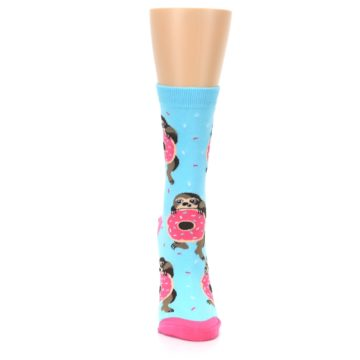 Image of Blue Pink Snacking Sloth Women's Dress Sock (front-04)