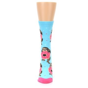 Image of Blue Pink Snacking Sloth Women's Dress Sock (front-05)