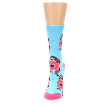 Image of Blue Pink Snacking Sloth Women's Dress Sock (side-2-front-06)