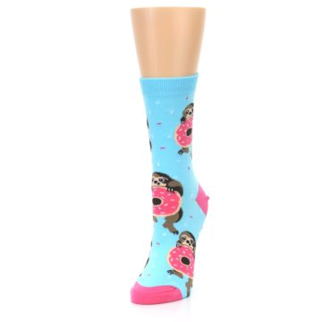 Image of Blue Pink Snacking Sloth Women's Dress Sock (side-2-front-07)