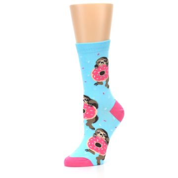 Image of Blue Pink Snacking Sloth Women's Dress Sock (side-2-09)