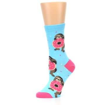 Image of Blue Pink Snacking Sloth Women's Dress Sock (side-2-10)