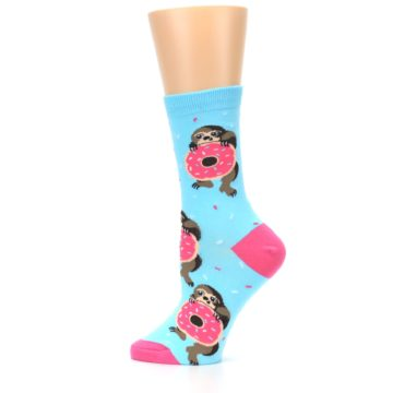 Image of Blue Pink Snacking Sloth Women's Dress Sock (side-2-12)