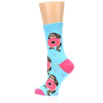 Image of Blue Pink Snacking Sloth Women's Dress Sock (side-2-13)