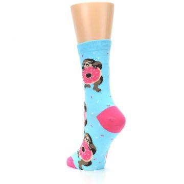 Image of Blue Pink Snacking Sloth Women's Dress Sock (side-2-back-15)