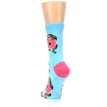 Image of Blue Pink Snacking Sloth Women's Dress Sock (side-2-back-16)