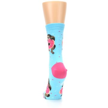 Image of Blue Pink Snacking Sloth Women's Dress Sock (back-17)