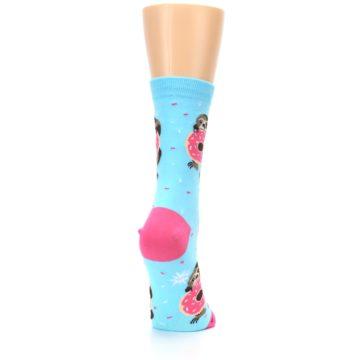 Image of Blue Pink Snacking Sloth Women's Dress Sock (side-1-back-20)