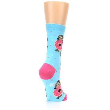 Image of Blue Pink Snacking Sloth Women's Dress Sock (side-1-back-21)