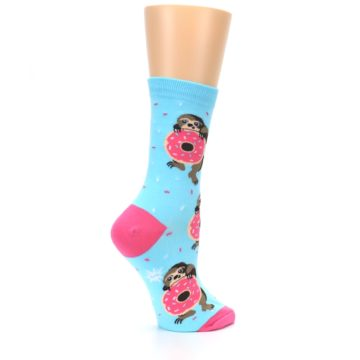 Image of Blue Pink Snacking Sloth Women's Dress Sock (side-1-23)