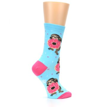 Image of Blue Pink Snacking Sloth Women's Dress Sock (side-1-24)