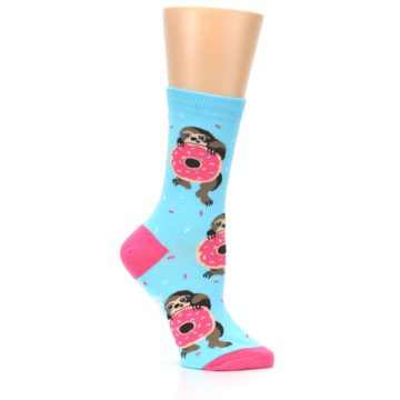 Image of Blue Pink Snacking Sloth Women's Dress Sock (side-1-25)