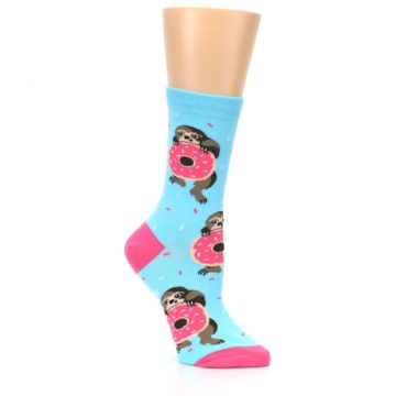 Image of Blue Pink Snacking Sloth Women's Dress Sock (side-1-26)
